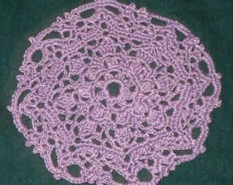 """Crochet Cotton Doily, 4 1/2"""", Lavender"""