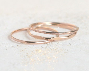 ROSE gold stacking rings. set of 3 rose gold ring bands. boho rings. minimalist rings. 14k gold filled rings. knuckle ring. midi ring stack.
