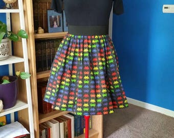 Space Invaders Skirt with Pockets - Size L