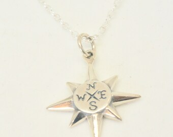 North Star Compass Necklace - Sterling Silver Let your compass be your Guide - 2017 Graduation, Friendship necklace, Journey, True North