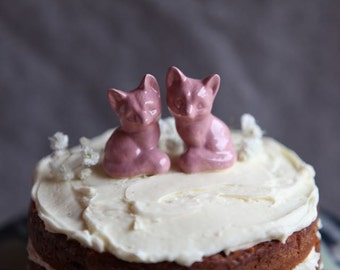 Two Foxes - Wedding Cake Topper in Pink