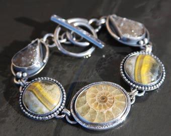 ammonite, bumblebee jasper, natural druzy, and sterling silver metalwork link bracelet