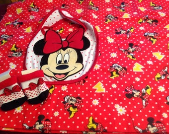 Minnie Mouse swaddling blanket