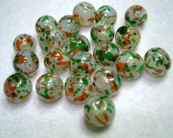 Orange Green Spray Painted Round Glass Beads - B3214