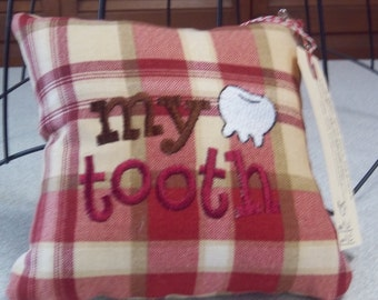 1023 Red, Tan, Taupe and Ivory Plaid Tooth Fairy Pillow