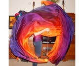 Sahariah's Silk Belly Dance Veil Killer Tornado Poi Voi Set 2 Poi Veils and Set of Poi Chains Silks by Sahariah