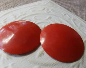 Vintage Buttons -  lot of 2 extra large 2 inch matching red celluloid, old and sweet(mar 314  17)