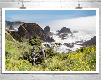 Mendocino Art, Sea Ranch, California Coast Print, Ocean Photography, Seascape Art, Murray Bolesta, Pacific Coast, Black and White, Foggy