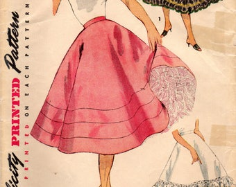 1950s Simplicity 4685 Vintage SEwing Pattern Misses Petticoat, Full Skirt Size Waist 26