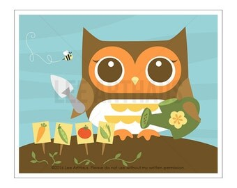 113A Owl Home Decor - Gardener Owl Wall Art - Owl Print - Gardening Wall Art - Garden Wall Art - Vegetables Wall Art - Owl Kitchen Wall Art