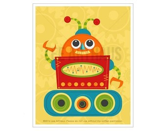 Robot Print - Robot 7 Wall Art - Funny Robot Wall Art - Baby Boy Robot Nursery Art - Robot Illustration - Colorful Robot Art - Art for Kids