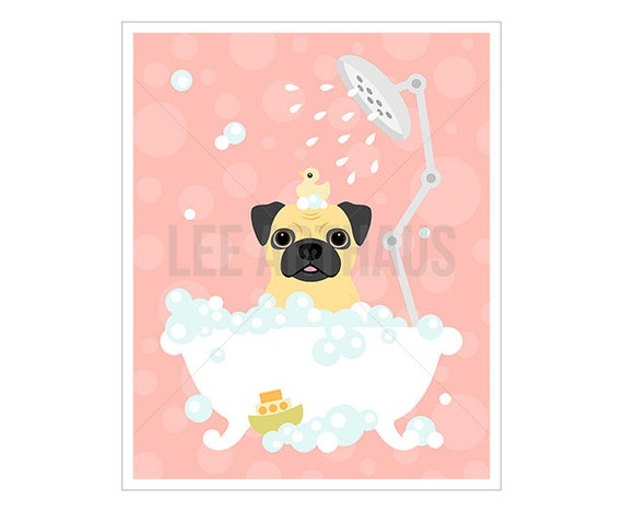 28F Pug Print - Pug Dog in Bubble Bath Wall Art - Bathroom Print - Pug Wall Art - Pink Nursery Wall Art - Pink Bath Decor - Dog Lover Gift