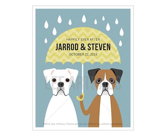 224P Boxer Dog Print - Custom Name Two Boxers Holding Umbrella Wall Art - Gift for Gay Wedding - Gay Love - Gay Anniversary Gift - Dog Art
