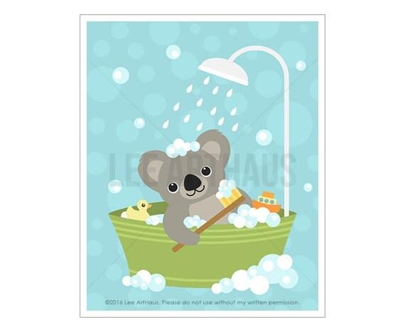 36A Bathroom Print - Koala Bear in Bathtub Wall Art -Koala Wall Art - Koala Print - Baby Art - Baby Room Decor - Art for Bathroom - Bath Art