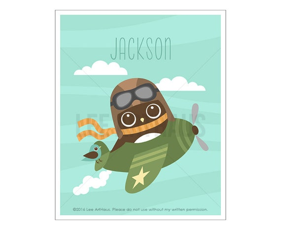 109P Owl Nursery Print - Personalized Owl in Airplane Wall Art - Custom Name Baby Boy Nursery Wall Art - Airplane Poster - Airplane Wall Art