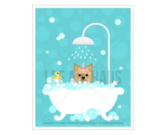 252D Dog Art Prints - Yorkshire Terrier in Bubble Bath Wall Art - Yorkie Print - Yorkshire Terrier Dog Gift - Dog Bath Prints - Dog Drawing
