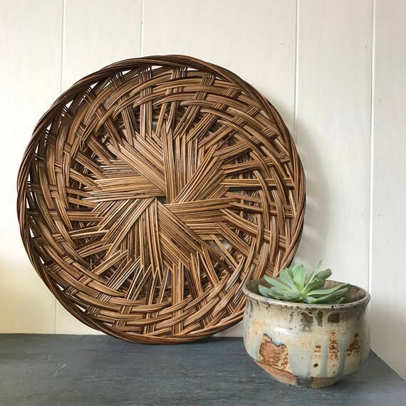 Large rattan wall decor : Bamboo wall basket large round rattan tray shallow flat
