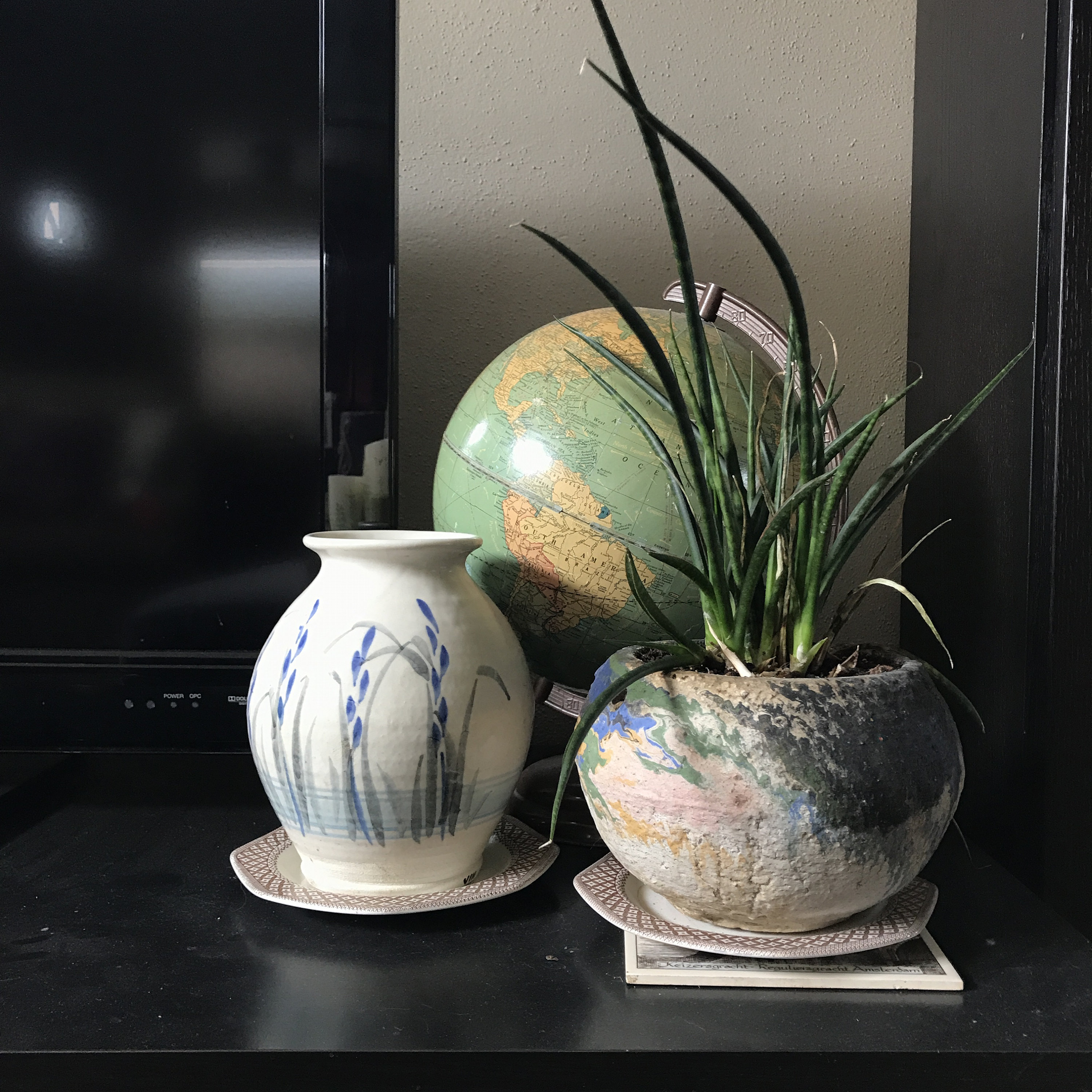 Vintage Globe and Pottery