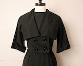 Vintage 1960's Black Dress Jacket Set 26 Waist
