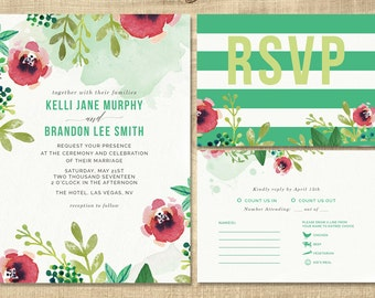 floral watercolor wedding invitation, green, coral flowers wedding invitation, custom printable wedding invitation, lds wedding invitation