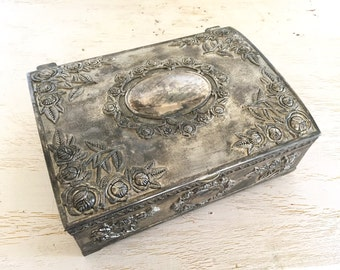godinger silver jewelry box with embossed rose cameo design - divided interior - footed silver plate box - shabby cottage chic