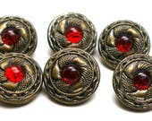 """1900s Antique BUTTONs, 6 Edwardian metal with red glass centers, 1/2""""."""
