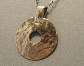 Hammered gold-filled donut pendant on sterling silver chain, mixed metal hammered round pendant in gold filled
