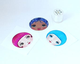 DIY Doll Making, Craft Doll Face, Sewing Notions, Sew in Doll Face, Cloth Doll Making Supplies