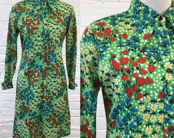 1970s Apple Green Floral Shirt Dress, size S