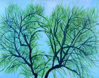 Lashing Branches, Heart Shaped Apple Tree - original fine art painting by Irene Stapleford - wantknot shop