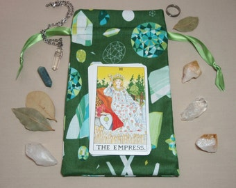 Green Crystals - Lined Drawstring Tarot Card Deck Pouch