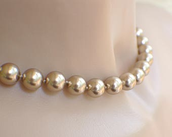 """Bronze Swarovki crystal pearl necklace graduated hand knotted on silk 17 inch """" 43cm 8mm 10mm beads genuine Swarovski crystal pearls neutral"""