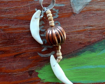 Fancy ear cuff - two real coyote fangs, wood and copper beads on silver-plated brass ear cuff