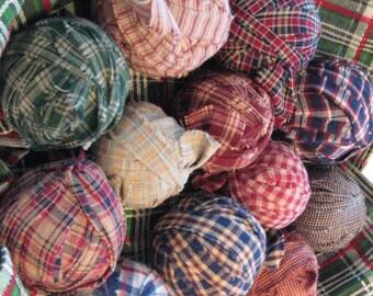 Dozen Homespun Fabric Rag Balls No Fillers
