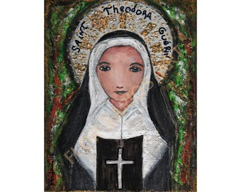 Saint Theodora Guerin - Folk Art  Print from Painting (6 x 8  inches PRINT) by FLOR LARIOS
