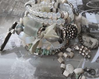 I Get So Emotional Opal Pearl Aquamarine Rosary BOHO Wrap bracelet