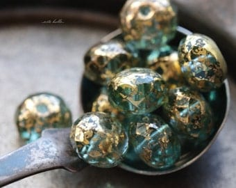 GILDED WATER .. 10 Premium Picasso Czech Rondelle Glass Beads 6x8-9mm (5527-10)
