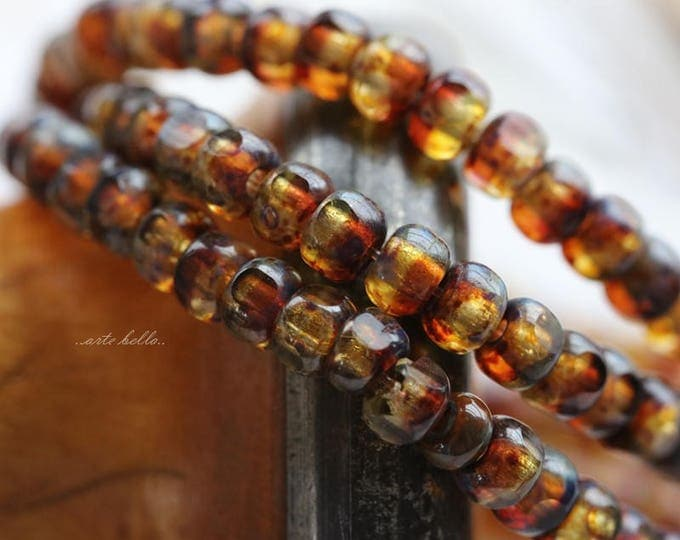 SANGRIA SEEDS .. 50 Picasso Czech Glass Tri-Cut Seed Bead Size 6/0 (5707-st)