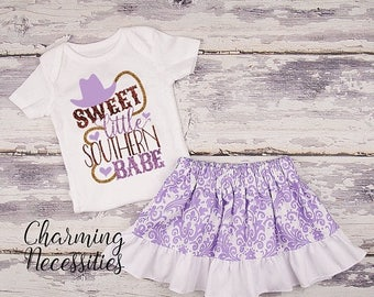 SALE NEW Baby Girl Summer Cowgirl Country Outfit, Baby Toddler Clothes, Newborn Coming Home, Baby Shower, Sweet Little Southern Babe Purple