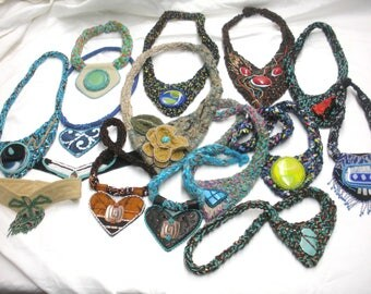 FREE SHIP Huge lot of 15 beaded necklaces crochet, copper, fused glass cabochon old stock clearance   - BearlyArtDesigns