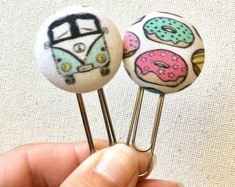 Fabric Button Planner Clip, Planner Clip, Donut Planner Clip, Planner Supply, School Supply, Teacher Gift, Office Supply, VW Bus