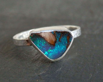 Australian boulder opal ring / blue and green flash / opal ring / opal jewelry / October birthstone / size 6.5 / ready to ship jewelry
