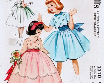 Flower Girl, Wedding Sewing Pattern McCall's 2210 Girls Vintage 50s Dress in Two Lengths 1958 Girls' Size 6