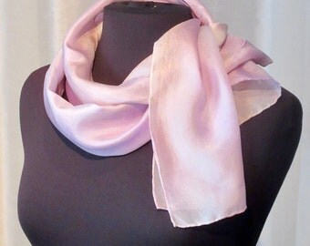 Pink Pearl Hand Painted Silk Scarf, One of a Kind, Designer Original Made in USA