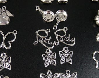 CLEARANCE Charm 10 Silver Pendant CHOICE Butterfly Dog Party Acorn Frying Pan Wine Glass Rocking Horse Turtle (1084chm70s2)os