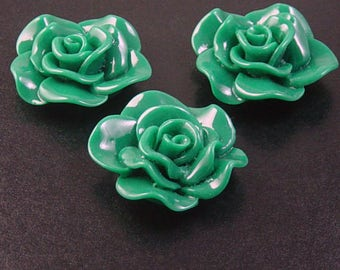 Cabochon Flower 2 Opaque Resin Rose Flower Round Pendant Size 30mm Green (1014cab30m3-6)