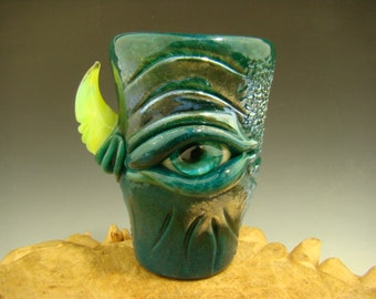 Hand blown Shot Glass Flameworked Art Freaky Monster eye by Eli Mazet (ready to ship) Teal