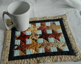 Scrappy Stars Wall Quilt Mug Rug or Table Mat