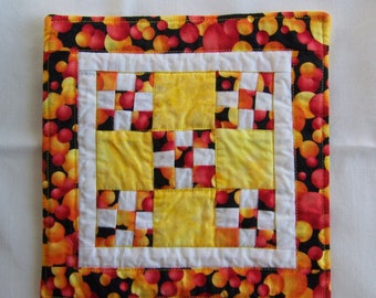 Coaster Mug Rug or Mini Nine Patch Quilt in Bright Red Orange and Yellow