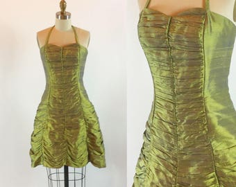 """Vintage 80s Chartreuse Green Ruched Party Prom Cocktail Dress 